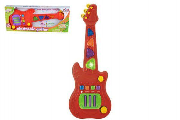 Teddies Elektronická kytara plast 48cm na baterie se zvukem se světlem v krabici