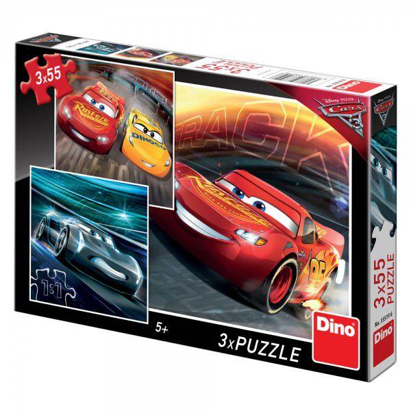 Puzzle 3x55 dílků Auta/Cars 3 Disney 18x18cm v krabici