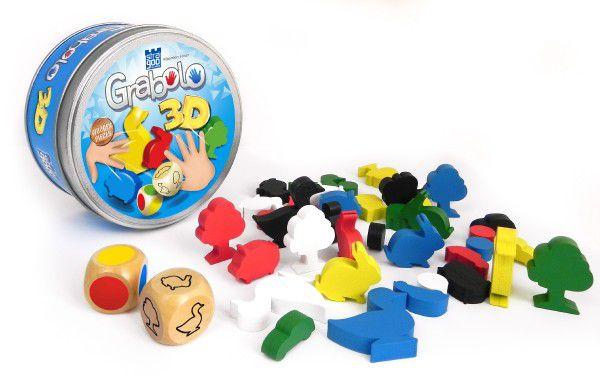 Grabolo 3D společenská hra dřevo v plechové krabičce 12x12x6cm