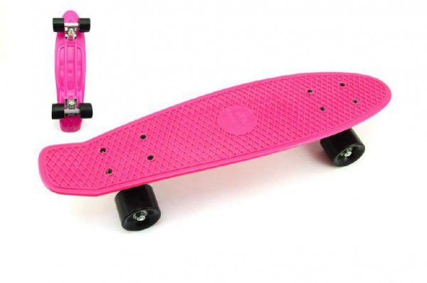 Skateboard - pennyboard 60cm nosnost 90kg, kovové osy, růžová barva, černá kola