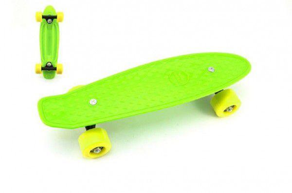 Teddies Skateboard pennyboard 43cm plastové osy zelená žlutá kola