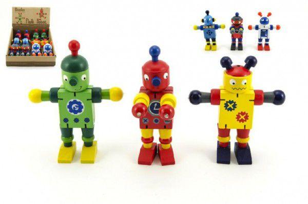 Teddies Robot dřevěný 12 cm