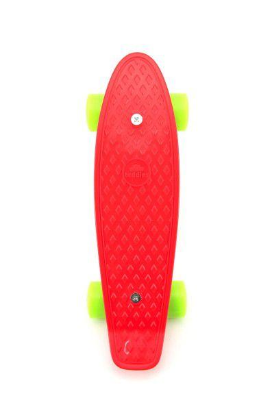 Skateboard - pennyboard 43cm, nosnost 60kg plastové osy, červený, zelená kola