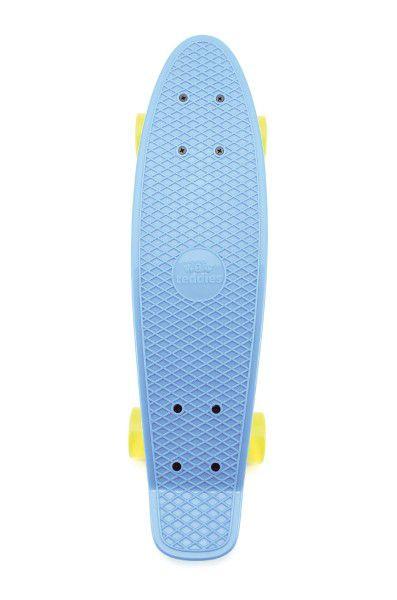 Skateboard - pennyboard 60cm nosnost 90kg, kovové osy, modrá barva, žlutá kola