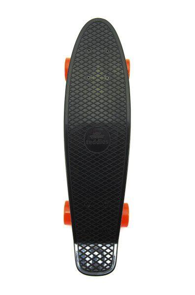 Skateboard - pennyboard 60cm nosnost 90kg, kovové osy, černá barva, oranžová kola