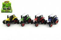 Traktor kov 9cm na zpětné natažení - 4 barvy