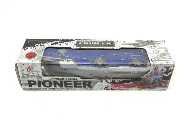 Letadlová loď plast 29cm narážecí na baterie asst 2 barvy v krabici