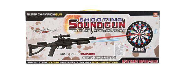 Pistole/Puška laserová 53cm + terč plast 18cm na baterie se světlem se zvukem