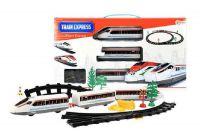 Vlak + 3 vagóny s kolejemi plast na baterie se světlem v krabici 48x26x5cm