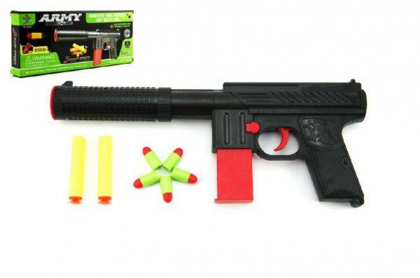 Teddies pistole na pěnové náboje plast 24cm v krabici 25x14cm