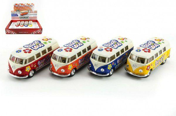 Autobus Kinsmart Volkswagen Classical kov 13cm na zpětné natažení - 4 barvy
