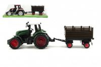 Traktor s přívěsem plast 45cm na setrvačník asst 2 barvy v krabici