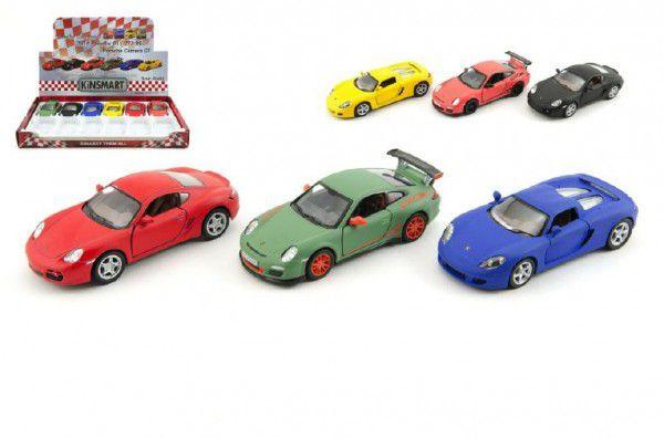 Auto Kinsmart Porsche kov 13cm na zpětné natažení - 3 druhy