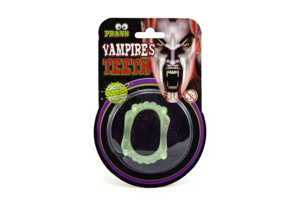 Zuby svítící 5cm na kartě karneval