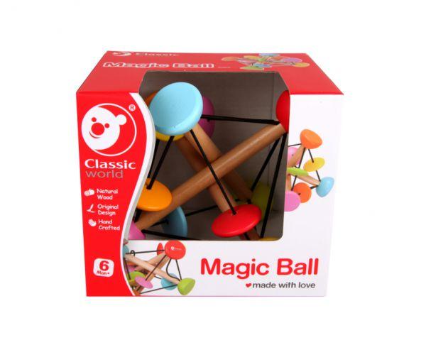 Magická koule chrastítko dřevo v krabici 15x15cm