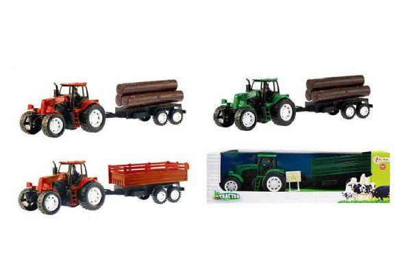 Traktor s přívěsem 42cm plast na setrvačník asst v krabici 45x12x11cm
