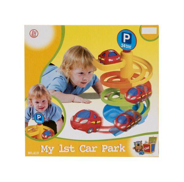 Dráha s autíčkem 5ks plast pro nejmenší v krabici 28x28x9cm