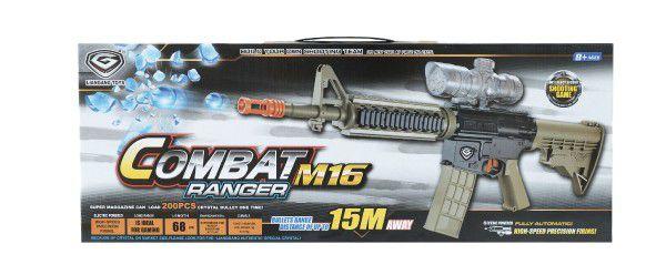 Puška pistole plast 68cm na vodní kuličky M16 s doplňky na baterie v krabici 69x26x7cm