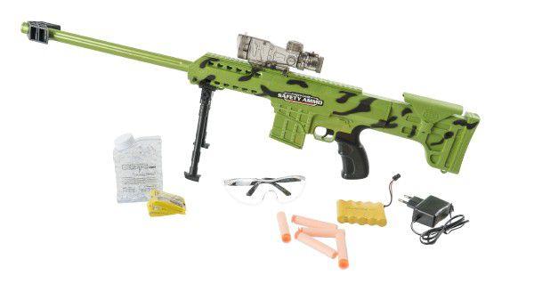 Puška plast 77cm na vodní kuličky odstřelovací na baterie v krabici 65x28x7cm