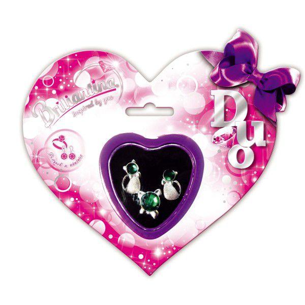 Dárková sada DUO Briliantina náušnice + prstýnek asst v krabičce na kartě 17x15cm