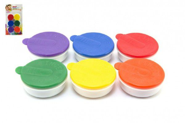 Prstové barvy 6ks x 20ml na kartě 15x28x2cm 18m+
