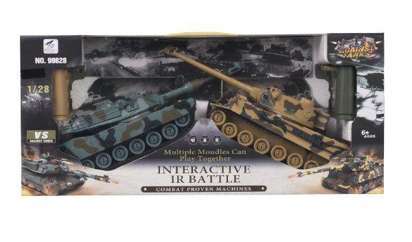 Tank RC 2ks 36cm tanková bitva+dobíjecí pack 27MHZ a 40MHz se zvukem se světlem v krabici 58x26x15cm