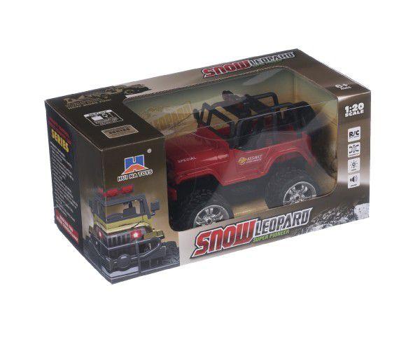 Auto terénní plast RC 22cm na baterie+dobíjecí pack se světlem se zvukem v krabici 31x15x16cm