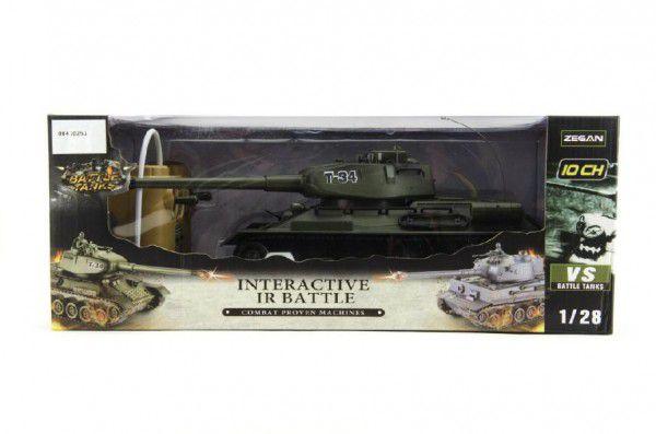 Teddies Tank RC plast 33cm T34 27MHz na baterie+dobíjecí pack se zvukem a světlem