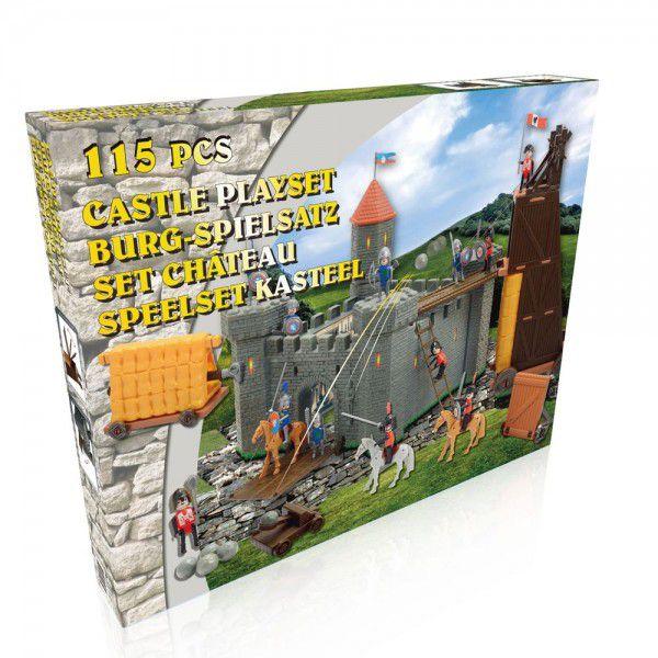 Hrad rytířský plast 115ks s doplňky v krabici 61,5x49x8,5cm