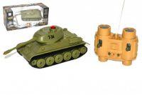Tank RC plast 22cm T34 27MHz na baterie+dobíjecí pack se zvukem a světlem v krabici 40x15x19cm