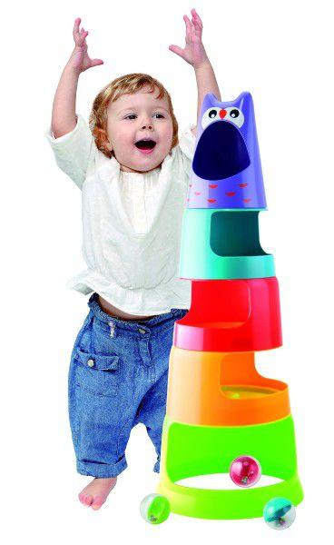 Pyramida sova plast 5ks+3 kuličky v krabici 9m+