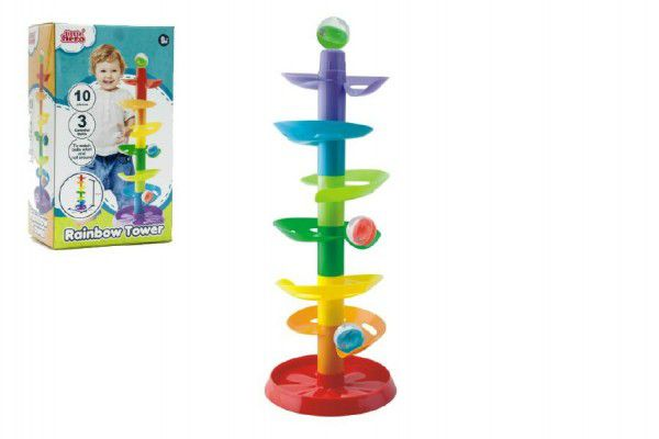 Kuličková dráha - věž 50cm 10ks 3 kuličky plast v krabici 9m+