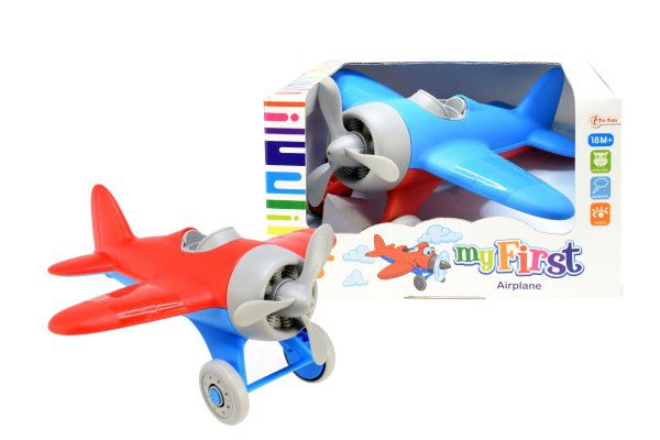 Letadlo plast 22cm volný chod asst 2 barvy v krabici