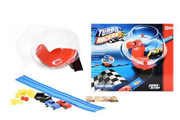 Teddies Dráha závodní 2 auta plast s doplňky v boxu 29cm