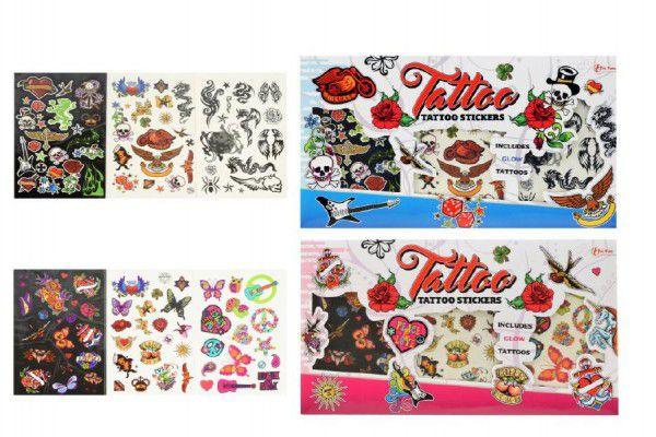 Tetování barevné 3ks asst 2 druhy kluci/holky na kartě 36x20cm