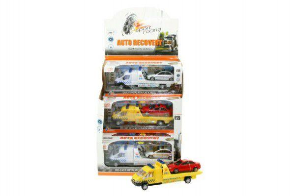 Auto/kamion odtahovka + auto plast 21cm na baterie se světlem se zvukem asst 2 barvy v krabičce