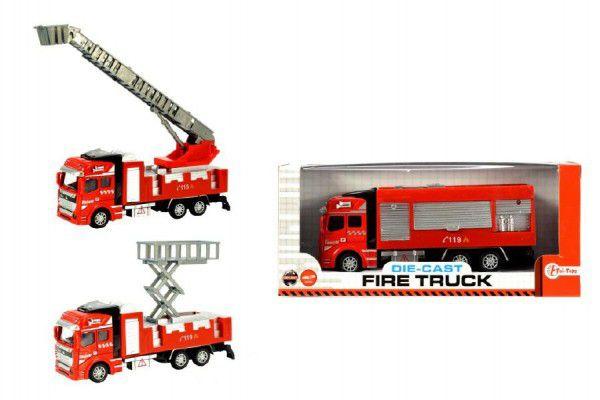 Auto hasiči kov/plast 21cm na setrvačník asst 3 druhy v krabici