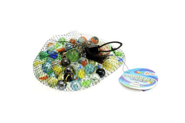 Kuličky cvrnkací skleněné barevné cca 90ks 500gr v síťce