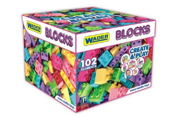 Kostky stavebnice pro holky plast 102ks v papírové krabici 28x28x20cm Wader 12m+
