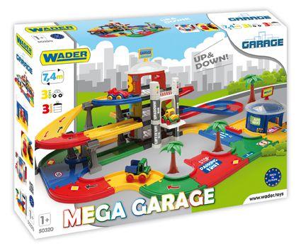 Mega garáž 3 patra plast 7,4m + 3 auta v krabici 79x53x14cm Wader