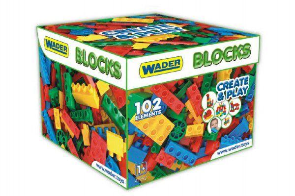 Kostky stavebnice pro kluky plast 102ks v papírové krabici 28x28x20cm Wader 12m+