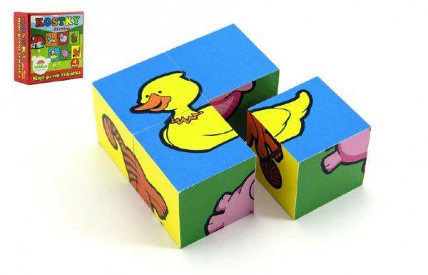 Teddies kostky kubus moje první zvířátka 4 ks v krabici
