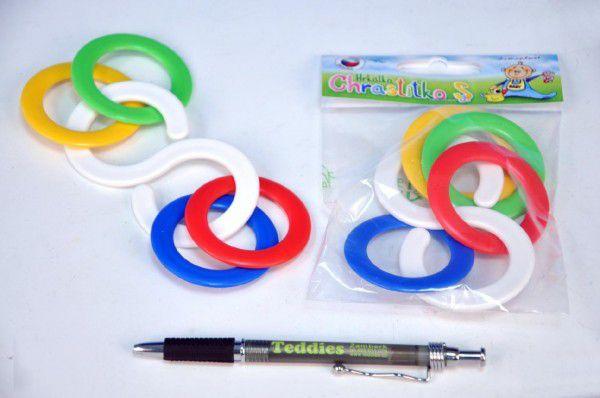 Chrastítko kousací kroužky plast 6x10cm v sáčku 0m+