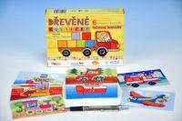 Kostky kubus Kubíkovy kostičky Dopravní prostředky dřevo 6ks v krabičce 18x13cm 24m+