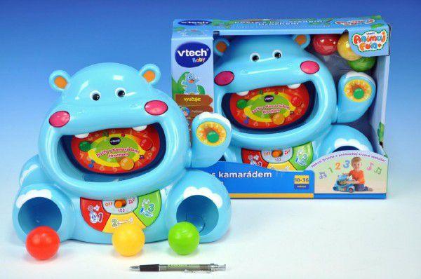 Počty s hrochem VTech modrý česky mluvící na baterie 2xAA se světlem v krabici 18-36měsíců