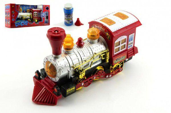 Lokomotiva/Vlak s bublifukem plast 27cm na baterie se zvukem se světlem v krabici