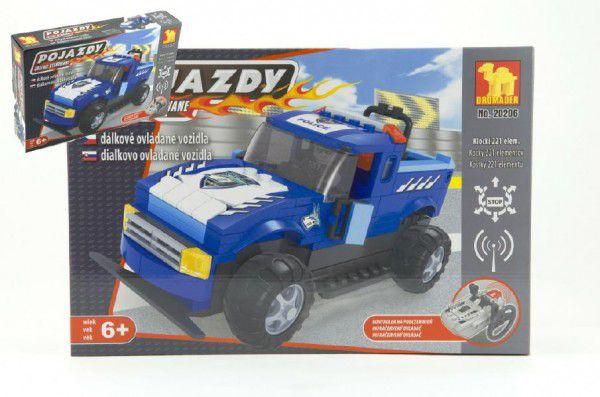 Stavebnice Dromader Auto RC Policie 20206 na vysílačku na baterie 221ks v krabici 36x24x7cm