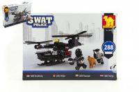 Stavebnice Dromader SWAT Policie Vrtulník 288ks plast v krabici 35x25x5,5cm