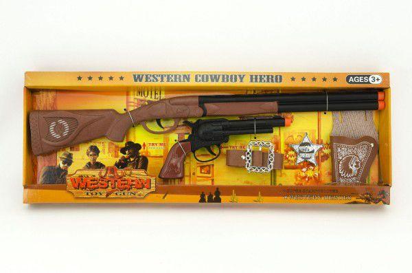 Kovbojská sada kolt puška 50cm plast 5ks v krabici