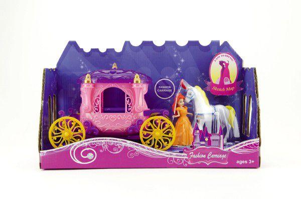 Kůň s kočárem + panenka plast 40cm v krabici